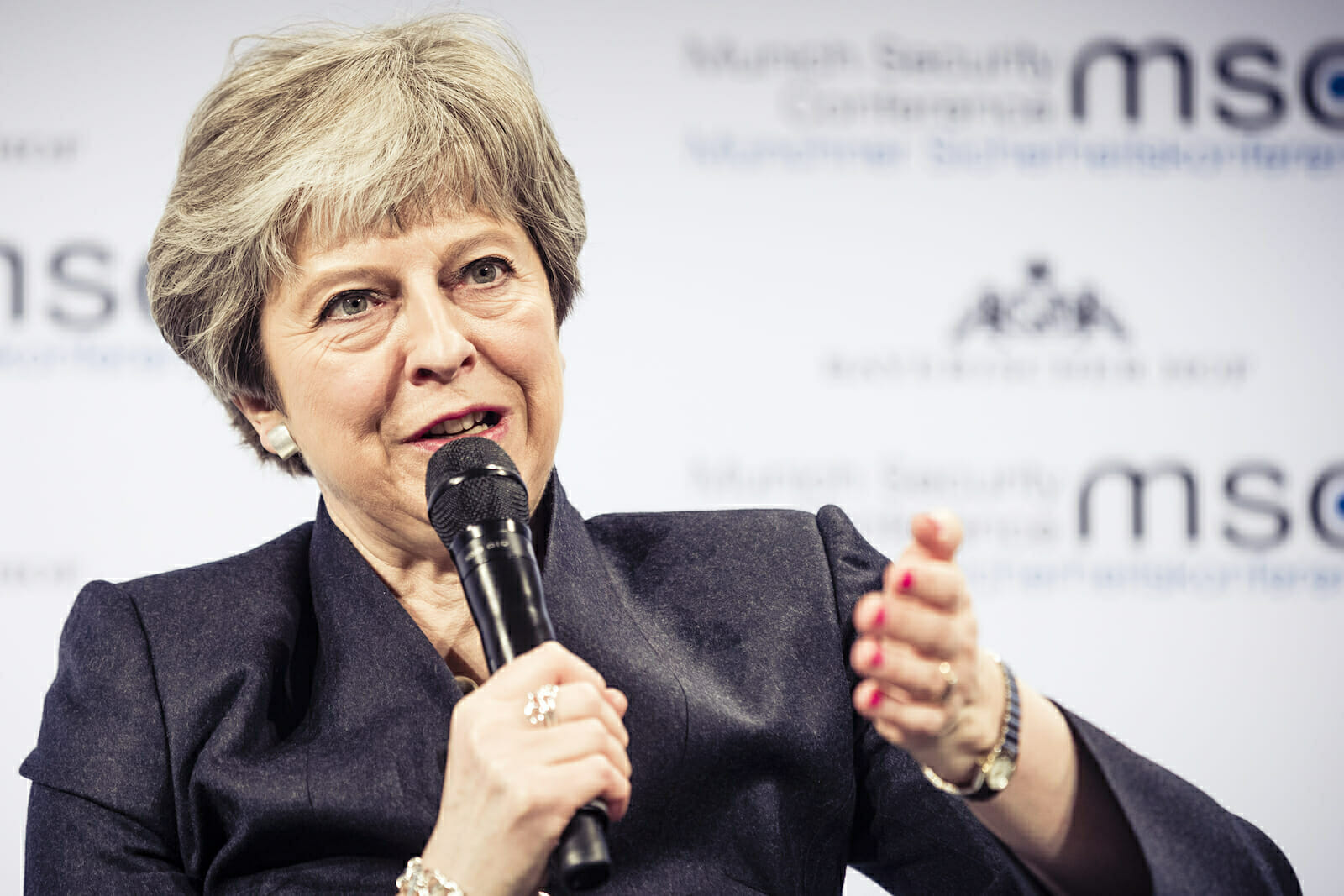 UK Prime Minister Theresa May speaking at the Munich Security conference