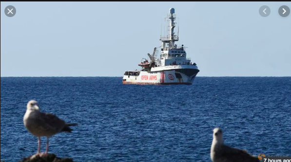 Proactiva's Open Arms Rescue Vessel, 1 km off the coast of Lampedusa (IT)