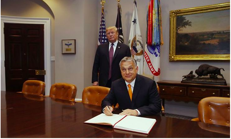 Viktor Orban and Donald Trump at the White House in 2019