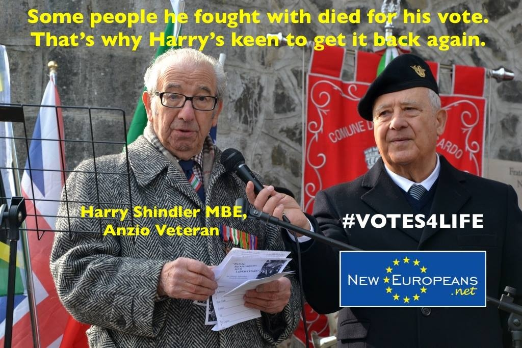 Harry Shindler MBE , lead campaigner, Votes for Life
