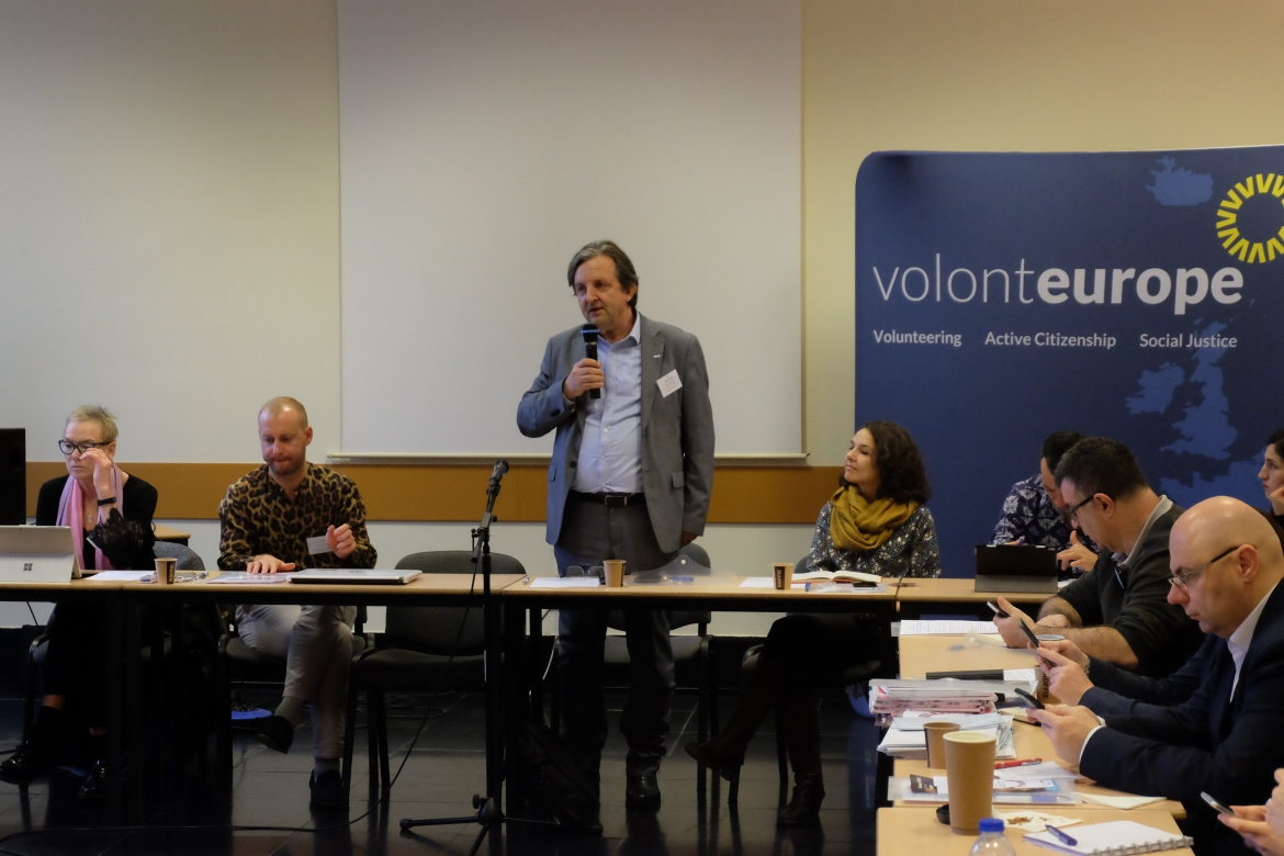 Roger Casale addressing the Volonteurope  annual conference in Brussels, 28 November 2019