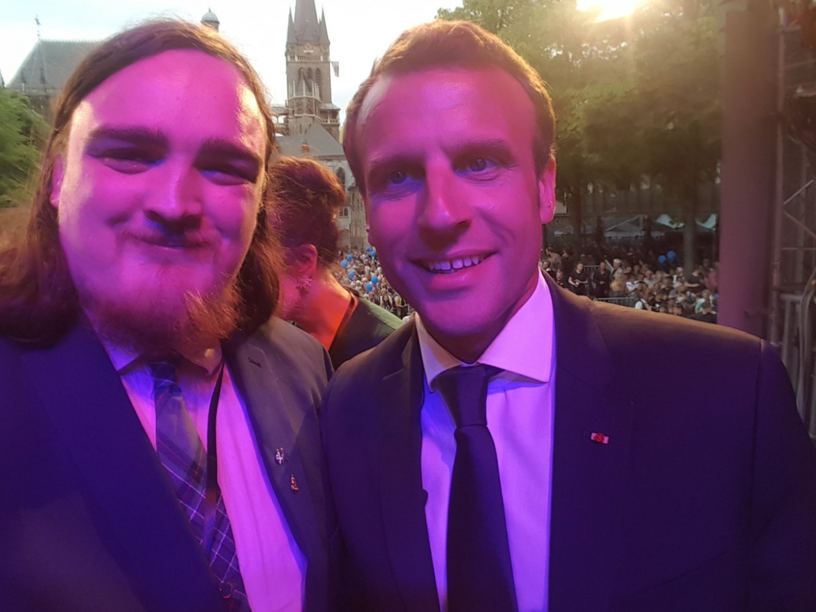 Gary Paterson, MEU Scotland and New Europeans Scotland met President Macron in Aachen on the occasion of the Charlemagne Awards 2018
