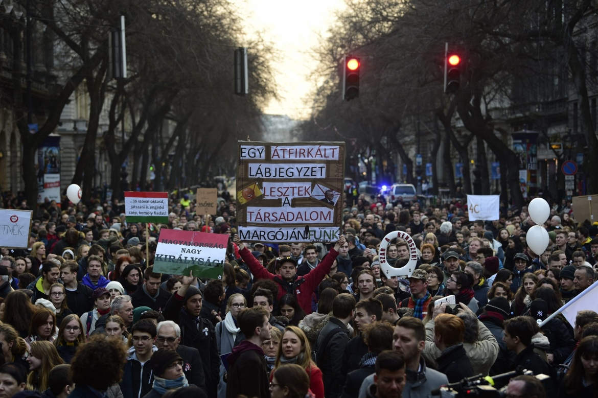 Students staged a huge protest in central Budapest demanding changes to the education system