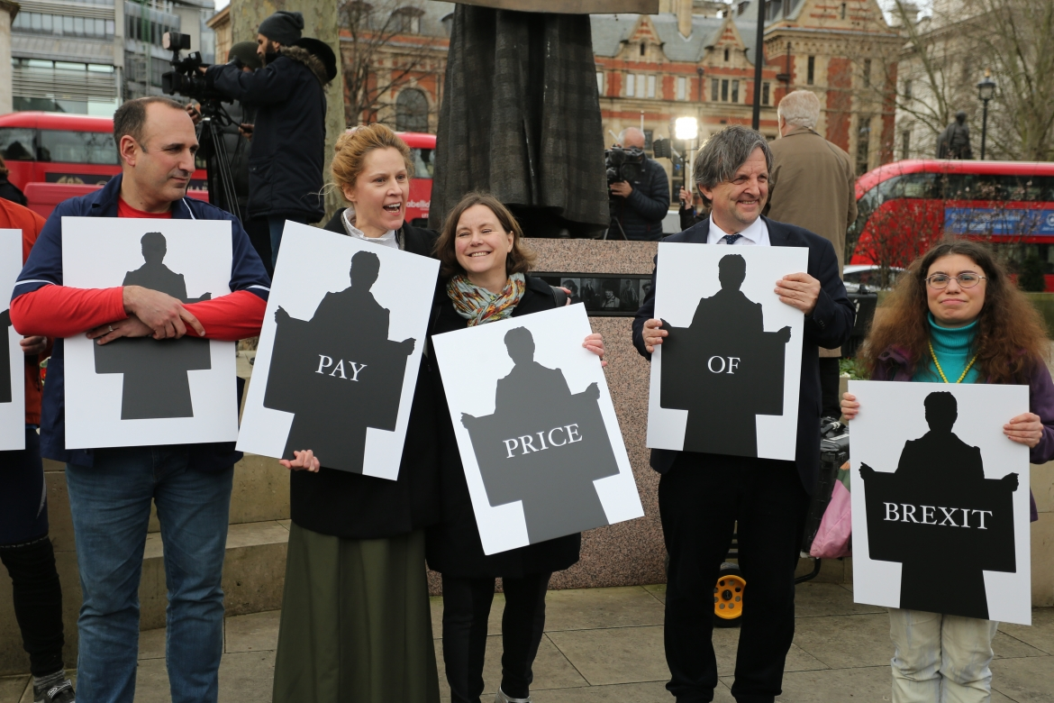 With the New Europeans campaign team at the Millicent Fawcett statue on Parliament Square, London, Brexit Day, 31 January 2020