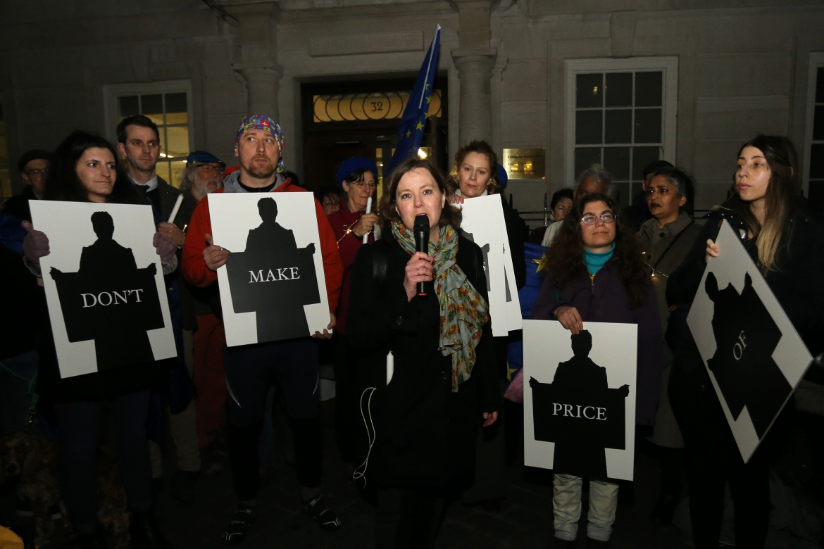 Addressing 'supporters and reporters' at candlelit vigil outside Europe House, London, Brexit Night 2020