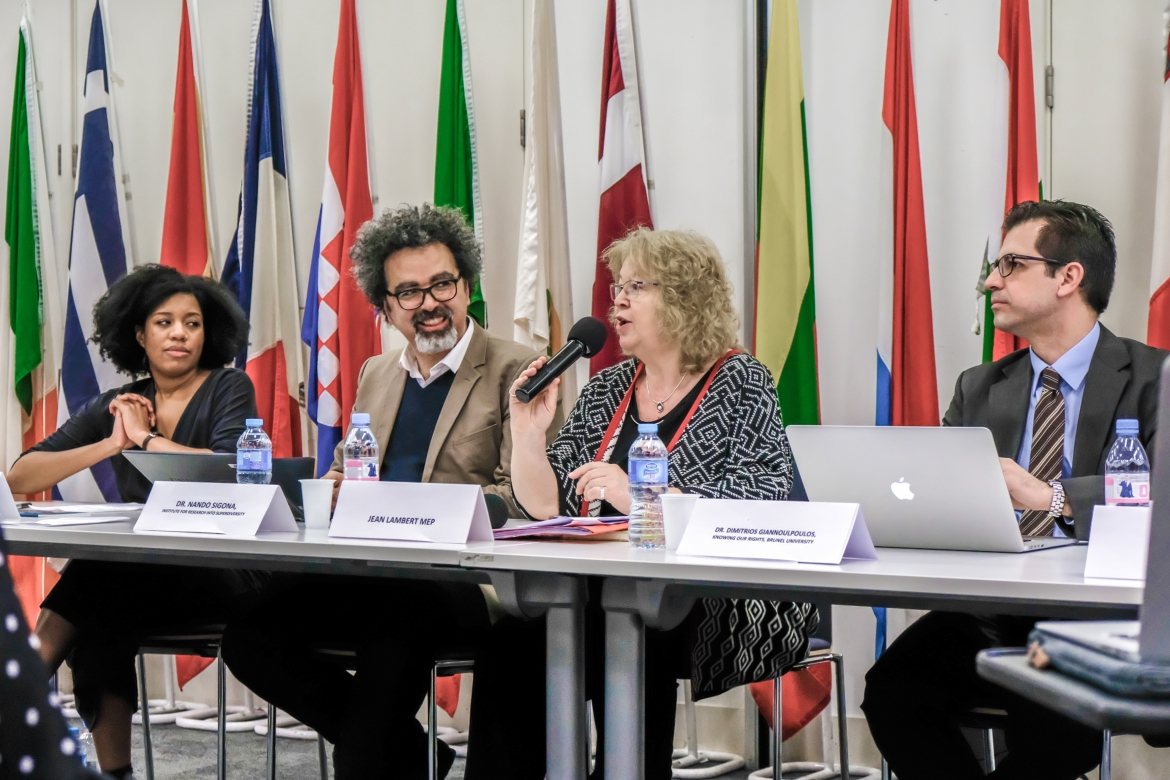 Gracie Bradley (Liberty), Dr Nando Sigona (University of Birmingham), Jean Lambert MEP, Dr Dimitrios Giannolopoulous (Knowing Our Rights)