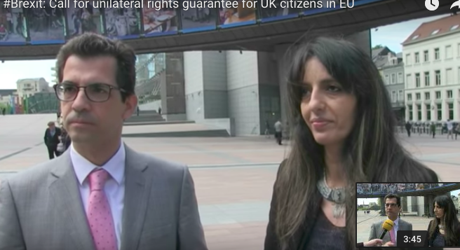 Dr Dimitrios Giannoulopoulos and Samia Badani outside the European Parliament in Brussels where New Europeans are also campaigning for the rights of UK citizens in the EU