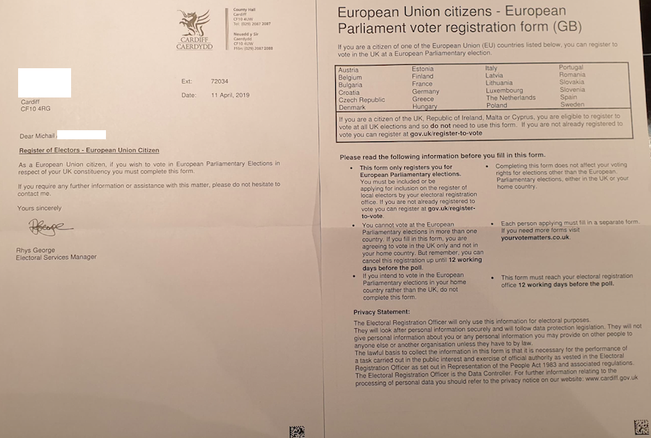 Step 2: Complete and return the EU citizens European Parliamentary Election voter registration form