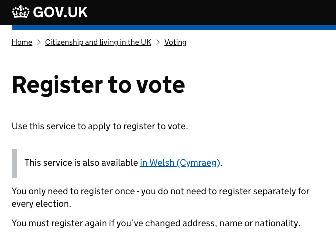 Step 1: Register via the Government website