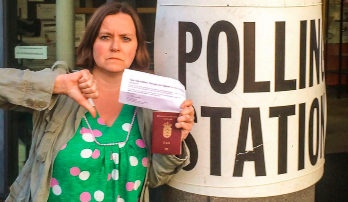 Else Kvist outside the Polling Station in Newham where she was denied a vote