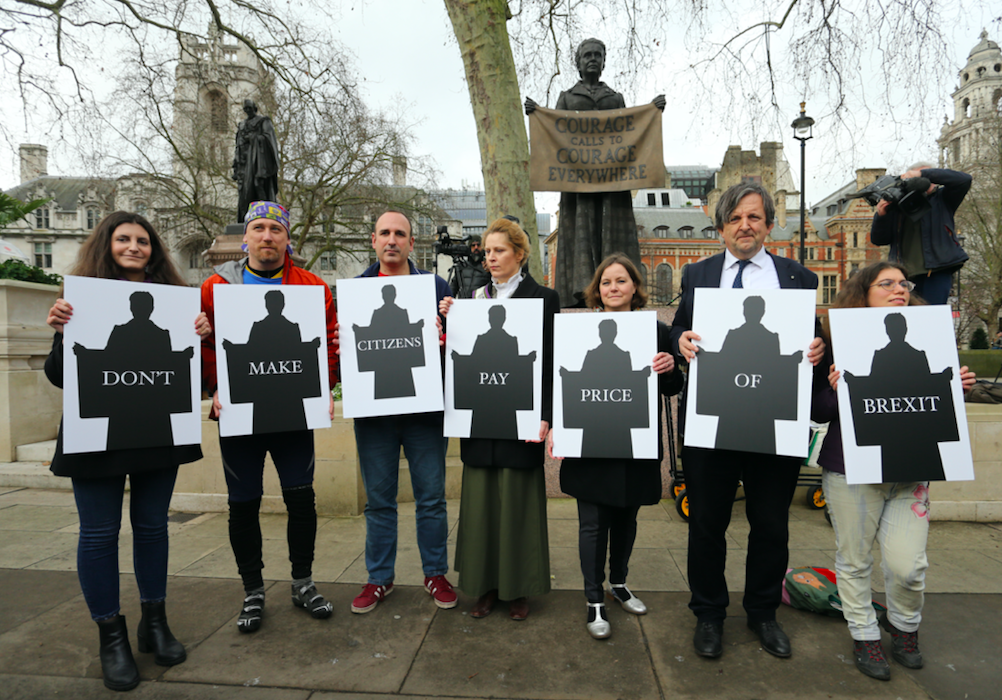 New Europeans protest by Millicent Fawcett statue on Parliament Square, 31/01/20