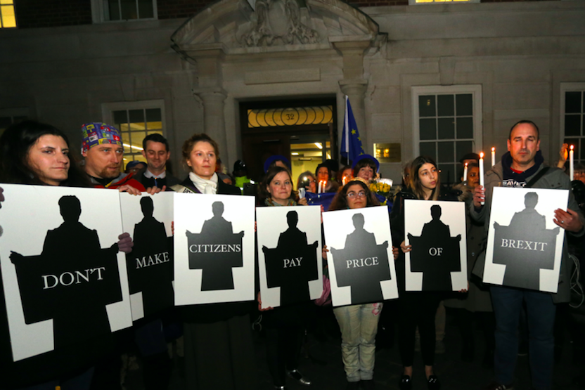 At candlelit vigil for citizens' rights outside Europe House