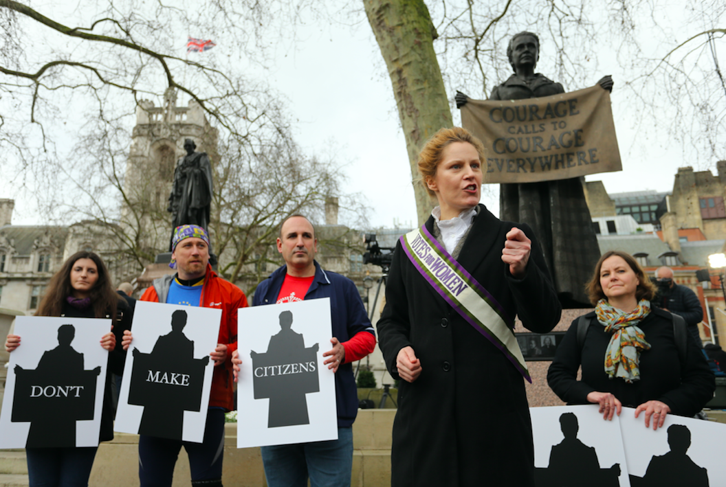 New Europeans protest by Millicent Fawcett statue on Parliament Square, 31/01/20 Photo credit: New Europeans