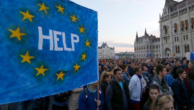Hungarians have been calling for help from the EU for many years - this photo was taken in Budapest in 2017