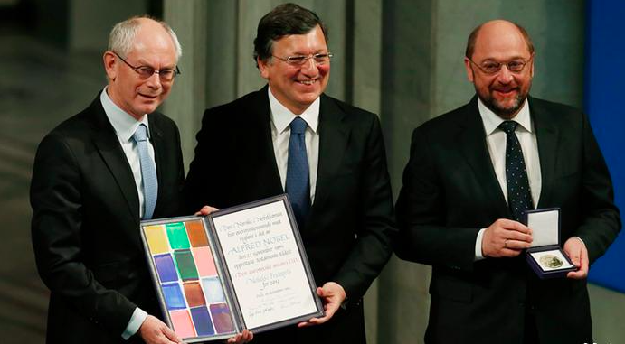 European Commission President Jose Manuel Barroso, European Council President Herman Van Rompuy and President of the European Parliament Martin Schulz accept the 2012 Nobel Peace Prize on behalf of the EU.
