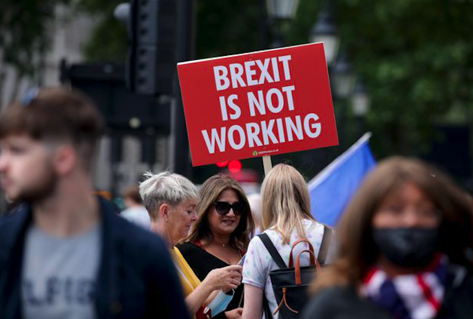 June 23, 2021 - London, Demonstration outside parliament against Brexit on the occasion of the fifth anniversary of the referendum on the withdrawal of the UK from the EU