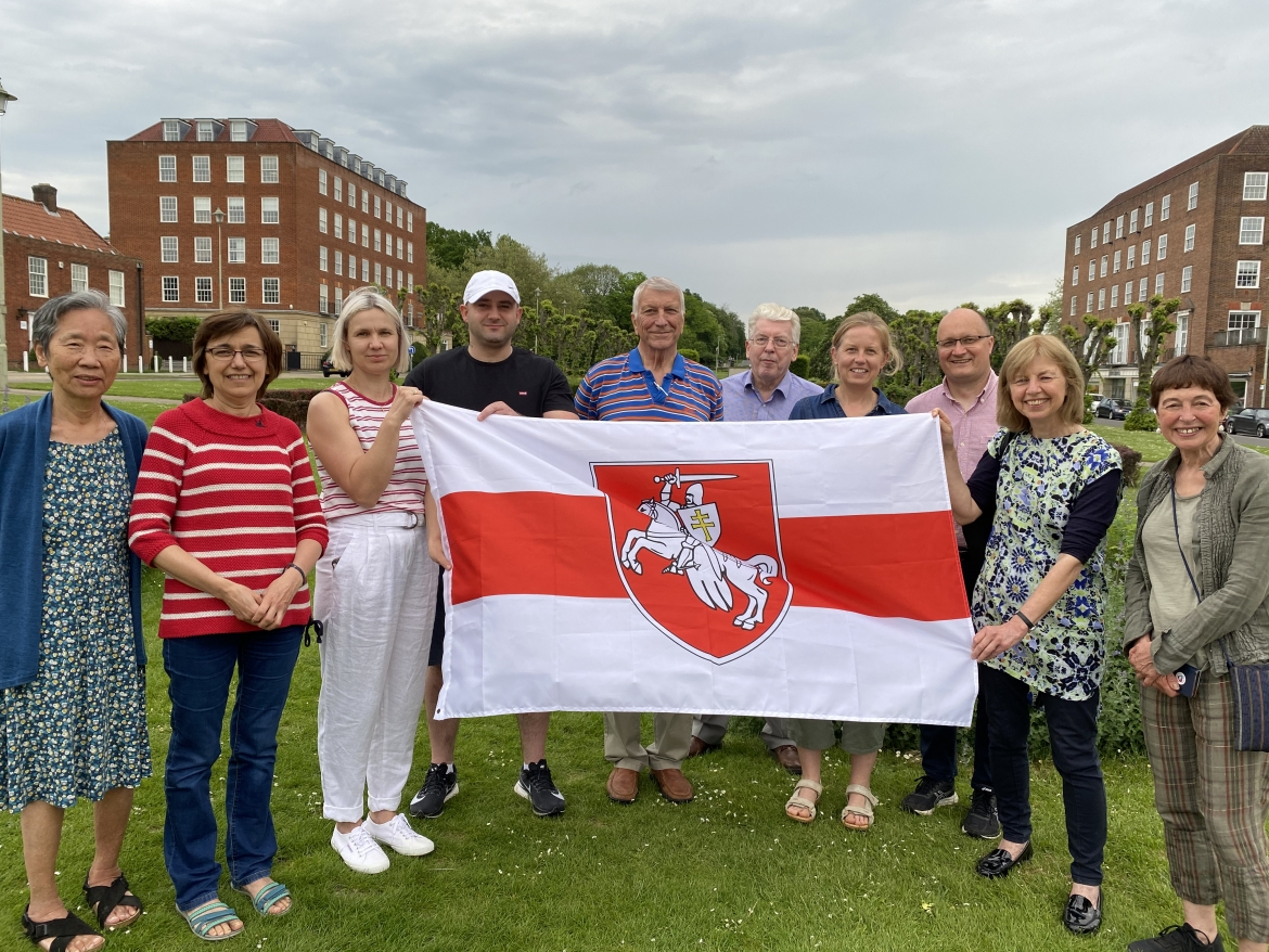 Michal Siewniak (third from right) and friends in Welwyn Garden City, East of England