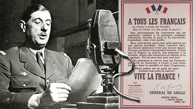 General de Gaulle reads the text of his famous 'Appel de 18 juin 1940' from the BBC in London