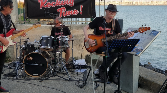 Tony Bell (right) with his band Rocking Time