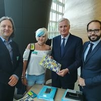 Roger Casale, Madeleina Kay,Michel Barnier and officials, Strasbourg, 4 July 2018