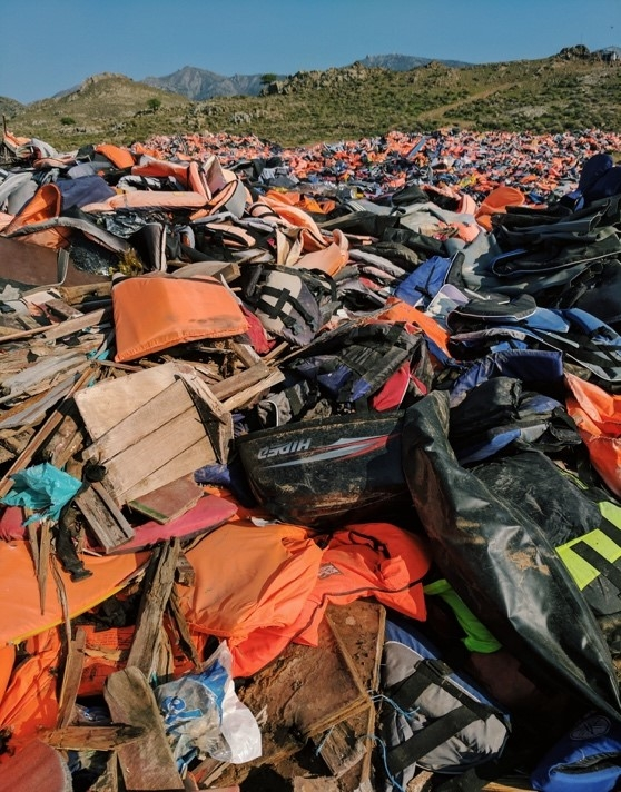 The infamous the 'lifejacket mountain' near Molyvos, Lesvos