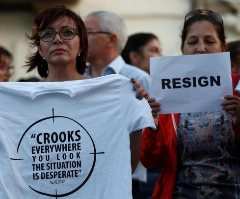 Protestors call for the resignation of Joseph Muscat, the Prime Minister who Maria Efimova claimed, use the private bank where she worked to move funds for Maltese politicians and the children of the president of Azerbaijan