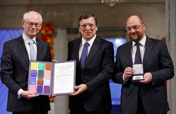 Herman van Rompuy, José Manuel Barosso, Martin Schulz, and the Nobel Peace Prize for the European Union