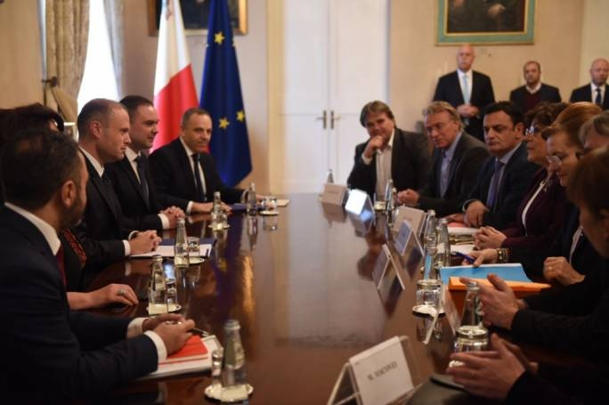Prime Minister Joseph Muscat and his chief of staff Keith Schembri meeting MEPs at Auberge de Castille last December